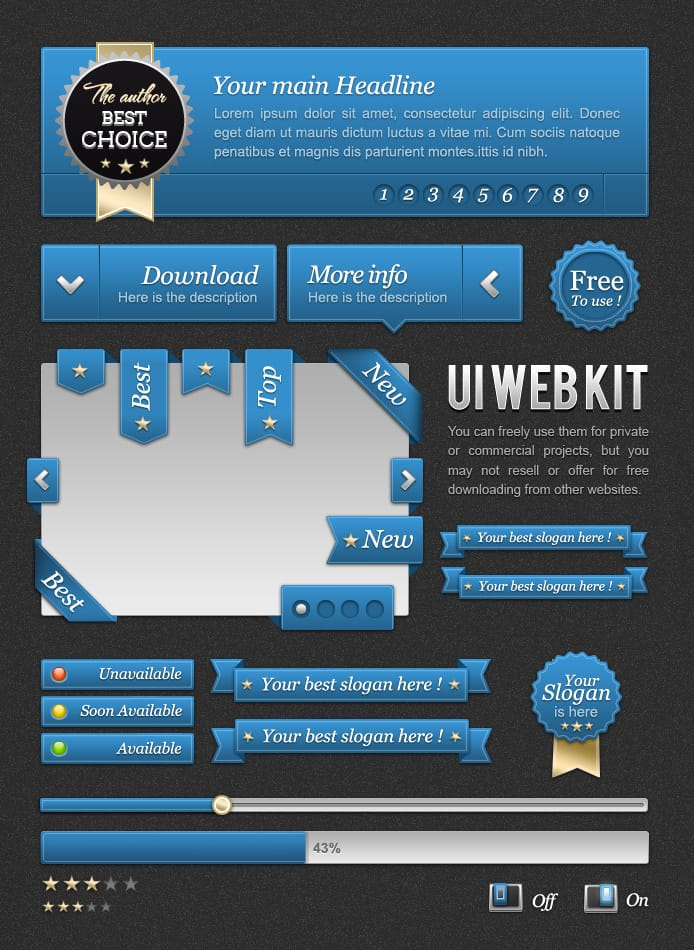 UI Blue web kit