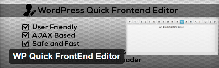 WP Quick FrontEnd Editor Plugin