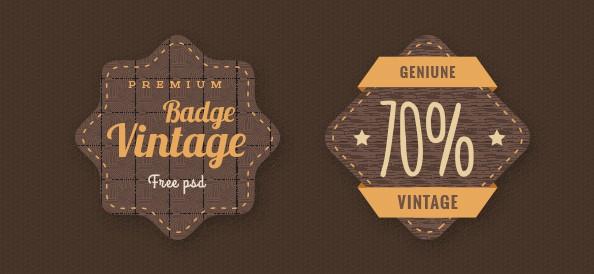 Brown Badge PSD Template Set