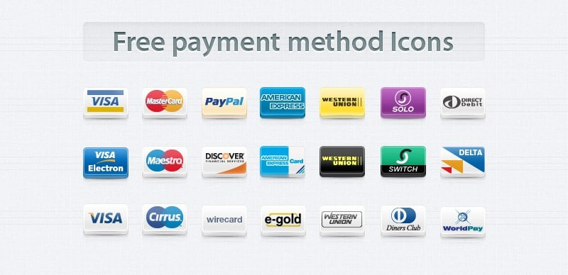 Free Payment Method Icons Set