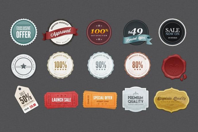 Free Psd Beautiful Web Badges Elements