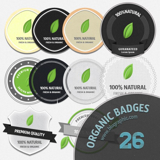 Fresh Organic Badges Psd