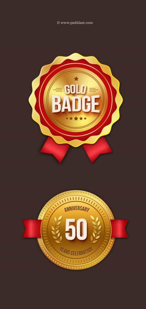 Gold badges design for print web