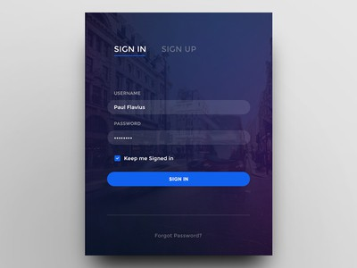 Login form with background