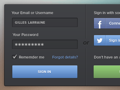 Login social interface