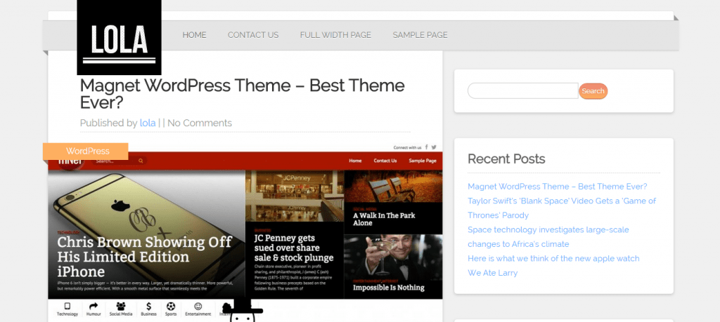 Lola Free WordPress Blogging Theme