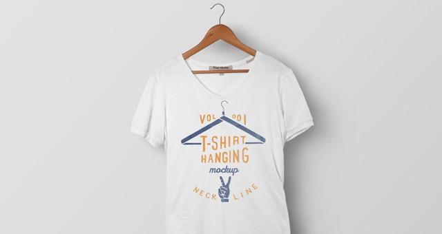 Psd V-Neck Tshirt Mockup Vol1