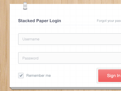 Stacked Paper Login form