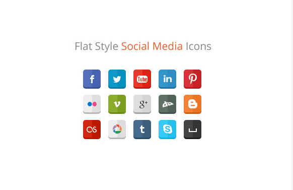 30 Free Flat Style Social Media Icons