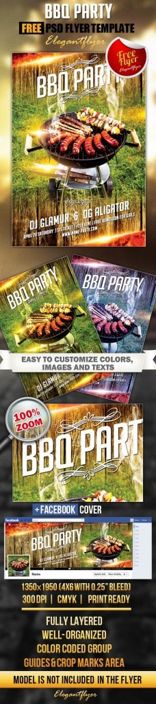 BBQ party Flyer PSD Template