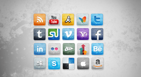 Free Stained and Faded Social Media Icons