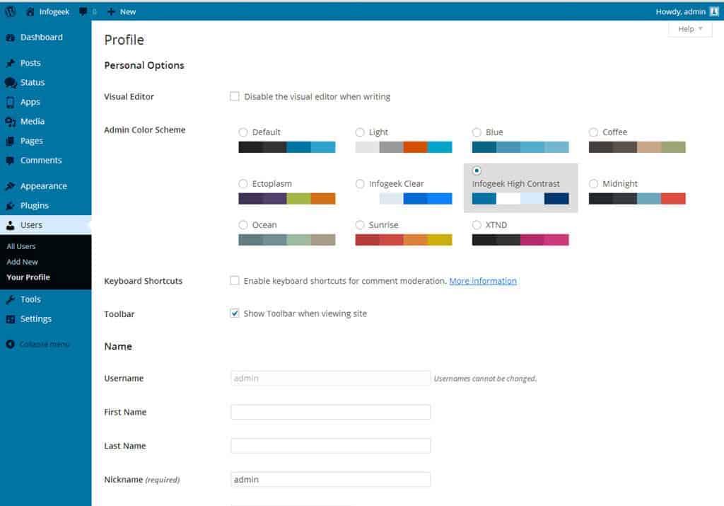 Infogeek Admin WordPress theme