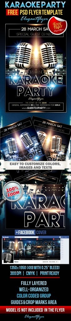 Karaoke Party Flyer PSD Template