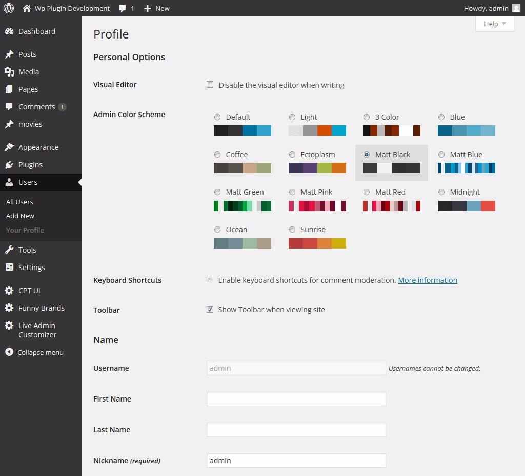 Live Admin Customizer WordPress theme