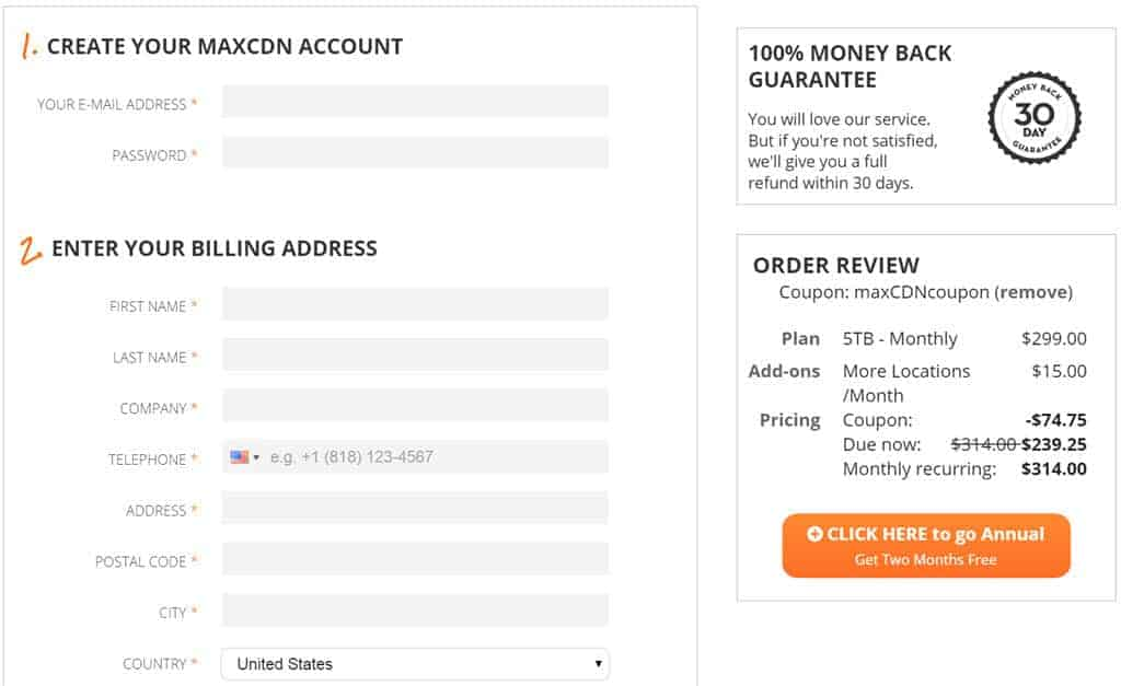 MaxCDN Disounted page
