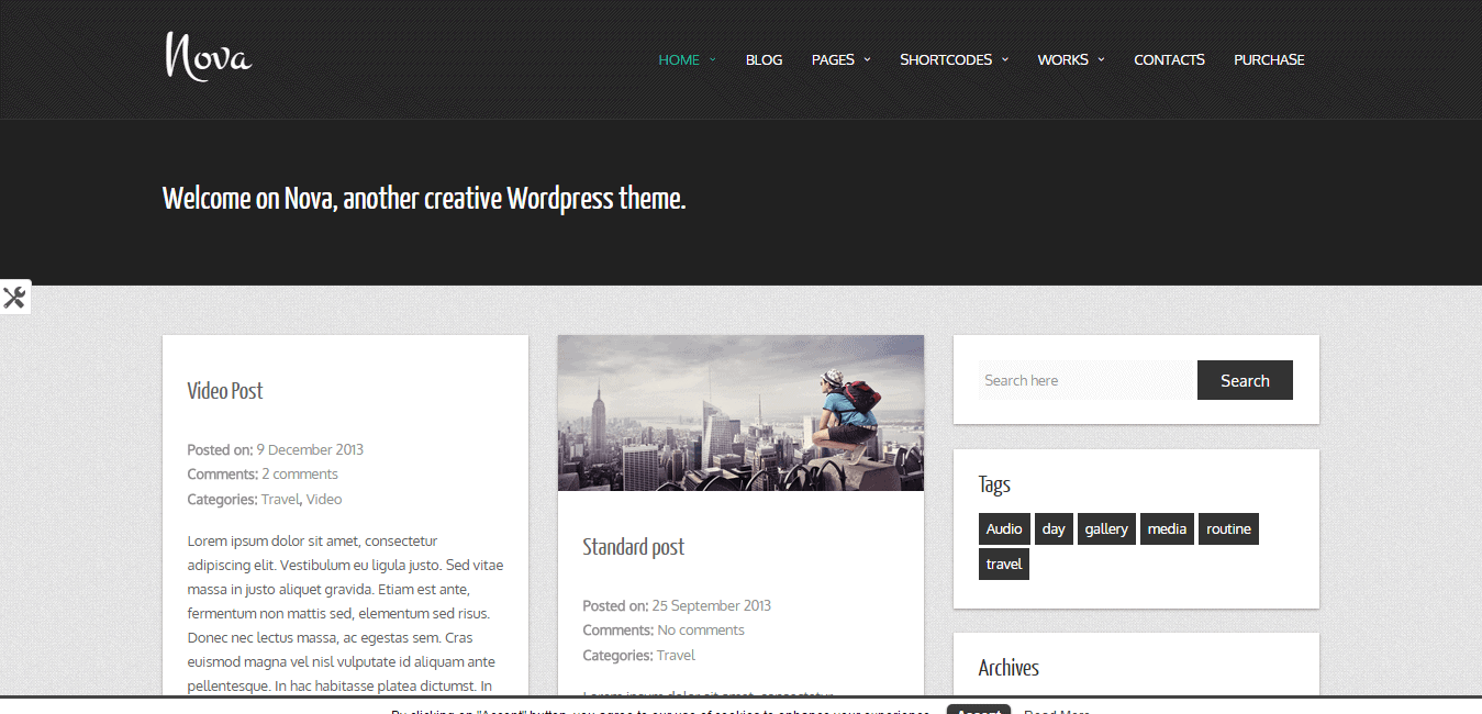Nova creative WordPress theme.