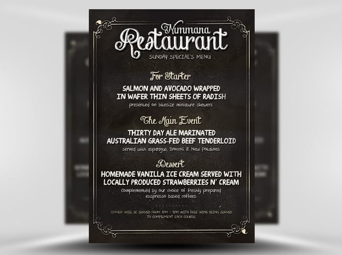 Restaurants Menu Flyer Template