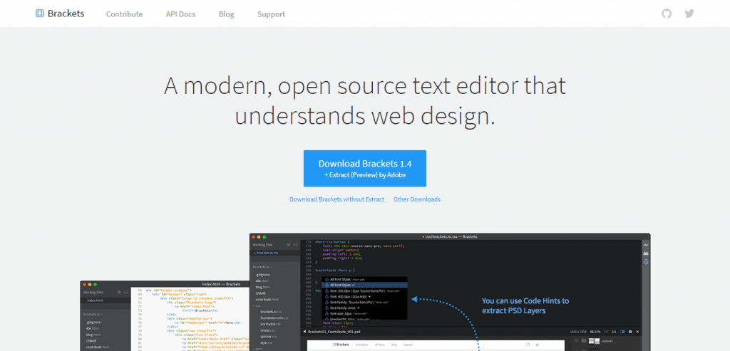 Brackets open source code editor