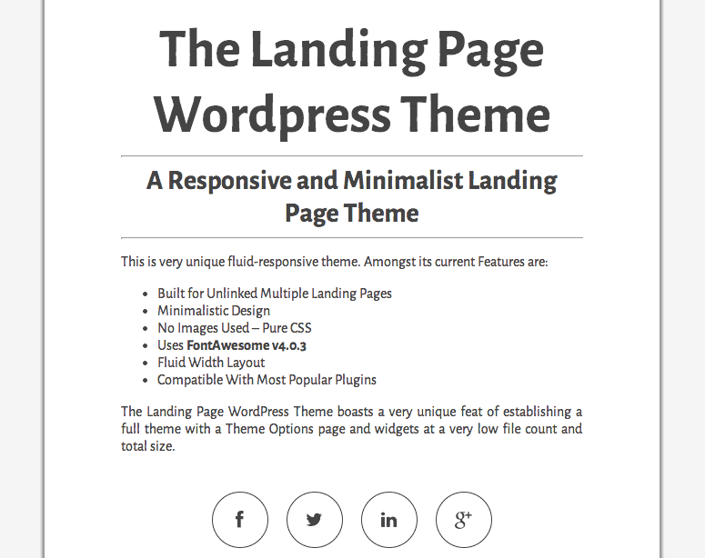 The Landing Page Theme