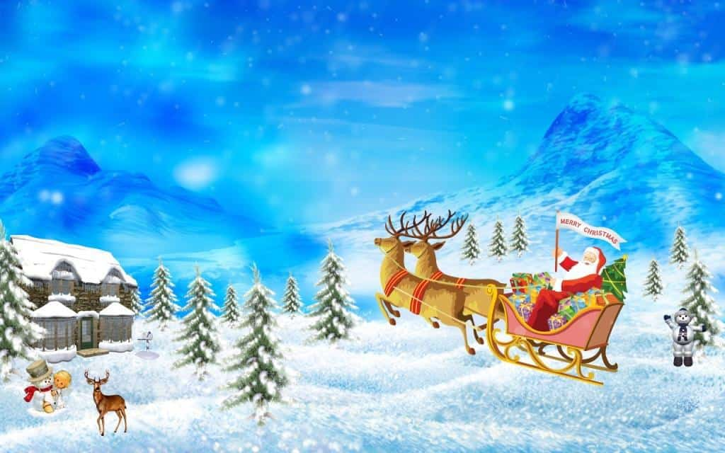 Santa and raindeers Wallpaper