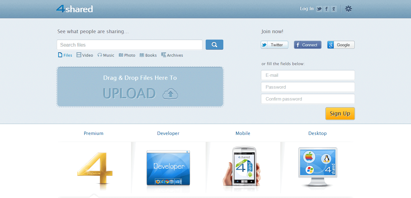 4shared free file sharing and storage