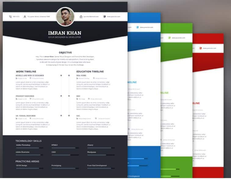 5 free template psd 4 colors - Free Unique Resume Templates