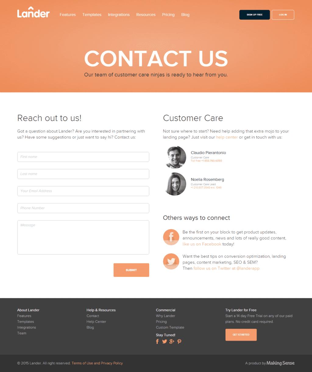Contact us Lander