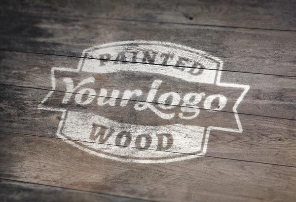 Painted Wood Logo MockUp