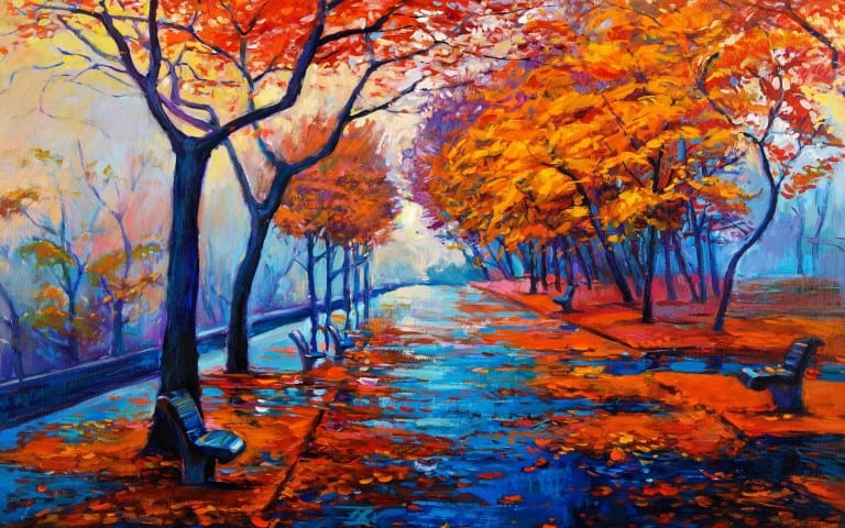 Autumn Forest Water Color Painting Wallpaper
