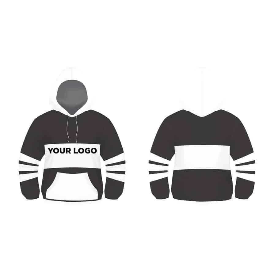 Black and White Hoodie Design Vector Template