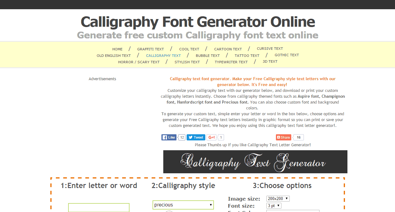 Calligraphy Font Generator Online