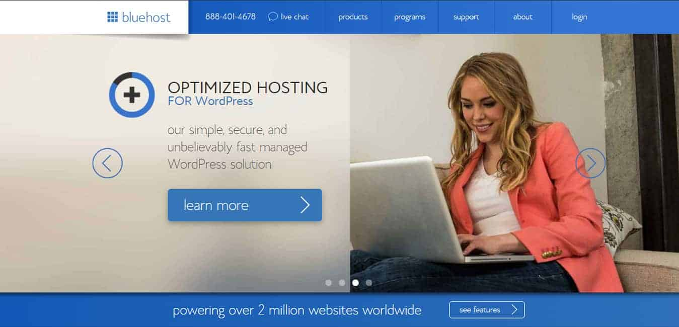 Bluehost screenshot for bluehost review and coupon code post