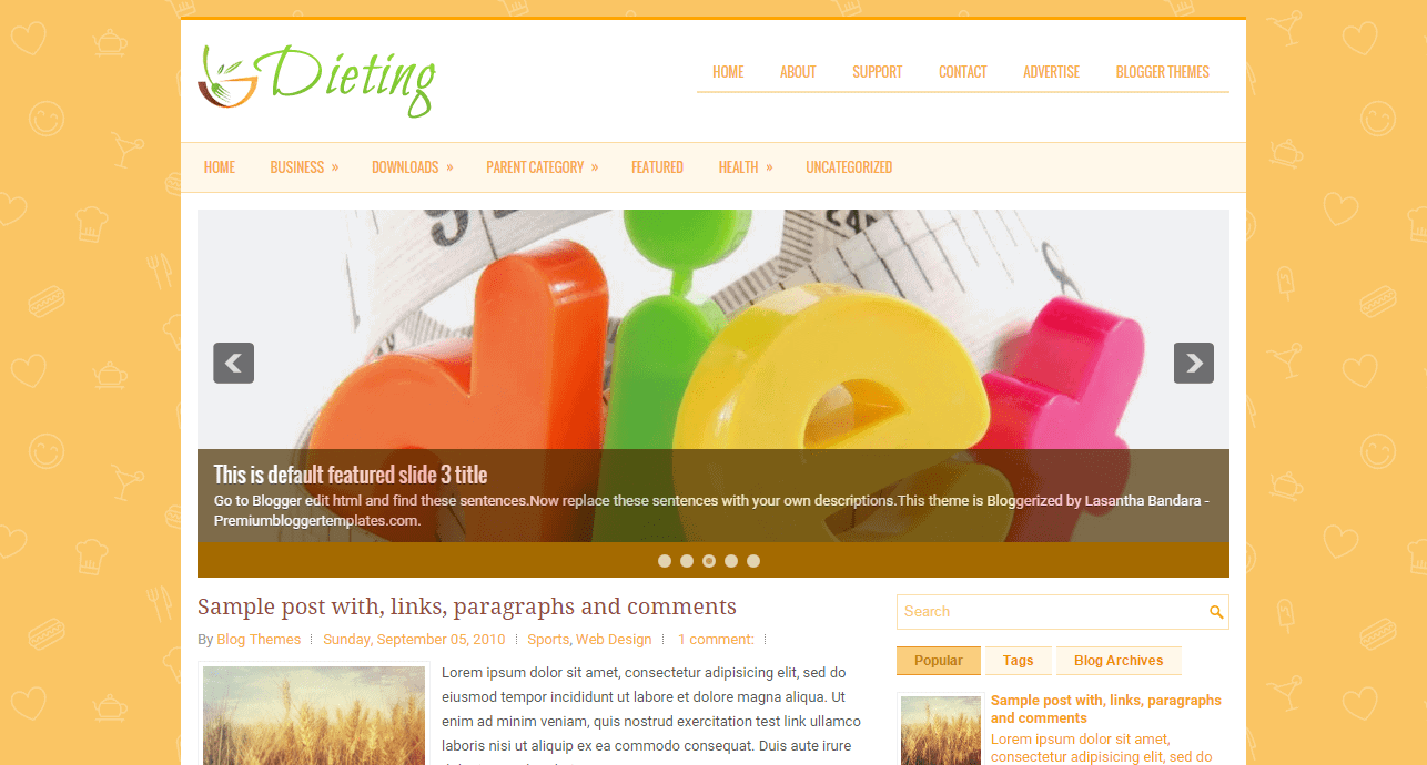 Dieting Blogspot template