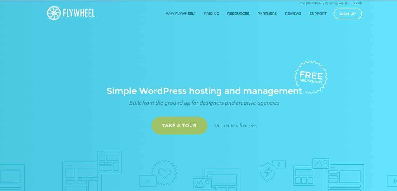 Flywheel logo and screenshot for Flywheel hosting review post