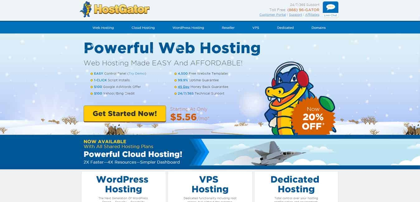 Hostgator website screenshot for Hostgator review and promotions post