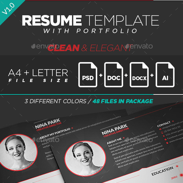 Resume Template With Portfolio Envato