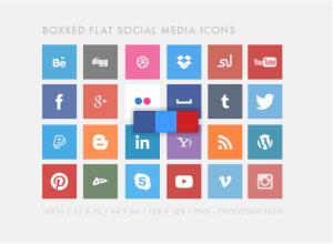 Boxxed Flat Social Media Icons
