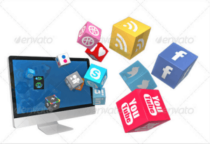 Monitor with Social Media Icons