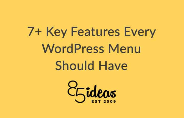 Wordpress menu key features