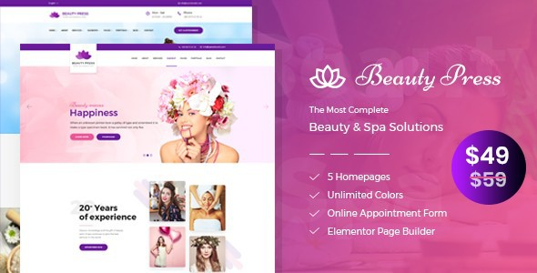 beauty press Beauty Salon Theme - Best Hair Salon/Beauty WordPress Themes
