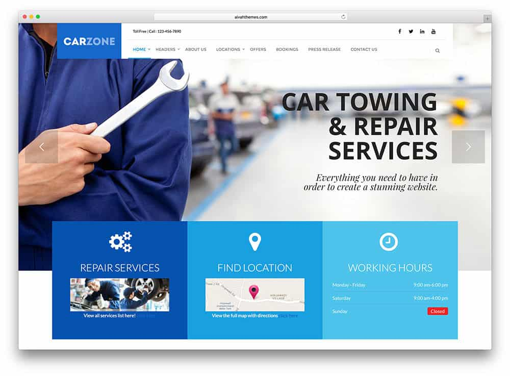 Auto repair shop wordpress themes