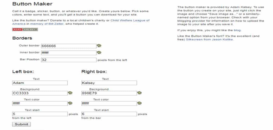 free online website button creators