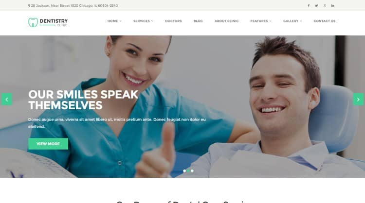 dentistry medical wordpress theme