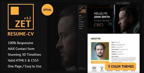 zet one page psd web template