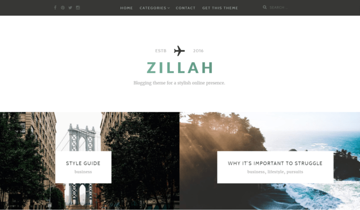 zillah free blogging wp theme