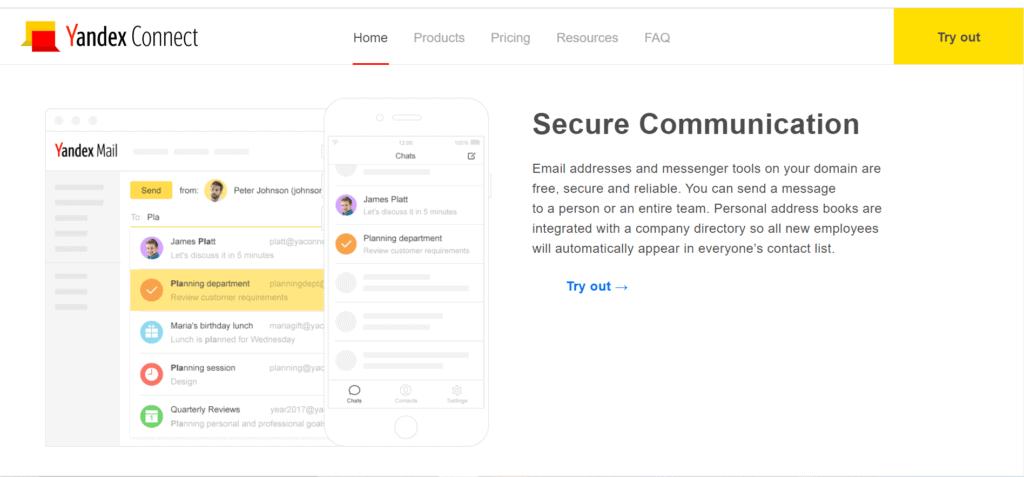 yandex email hosting