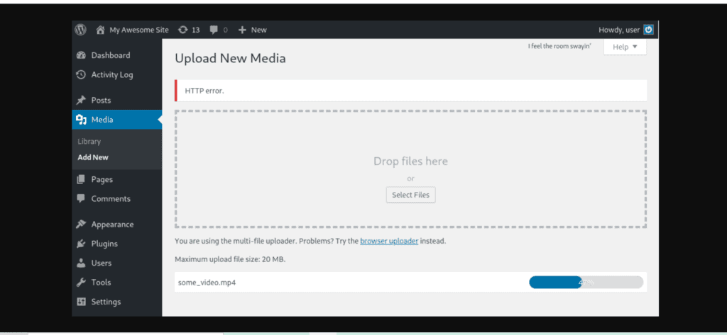 Image Upload WordPress error