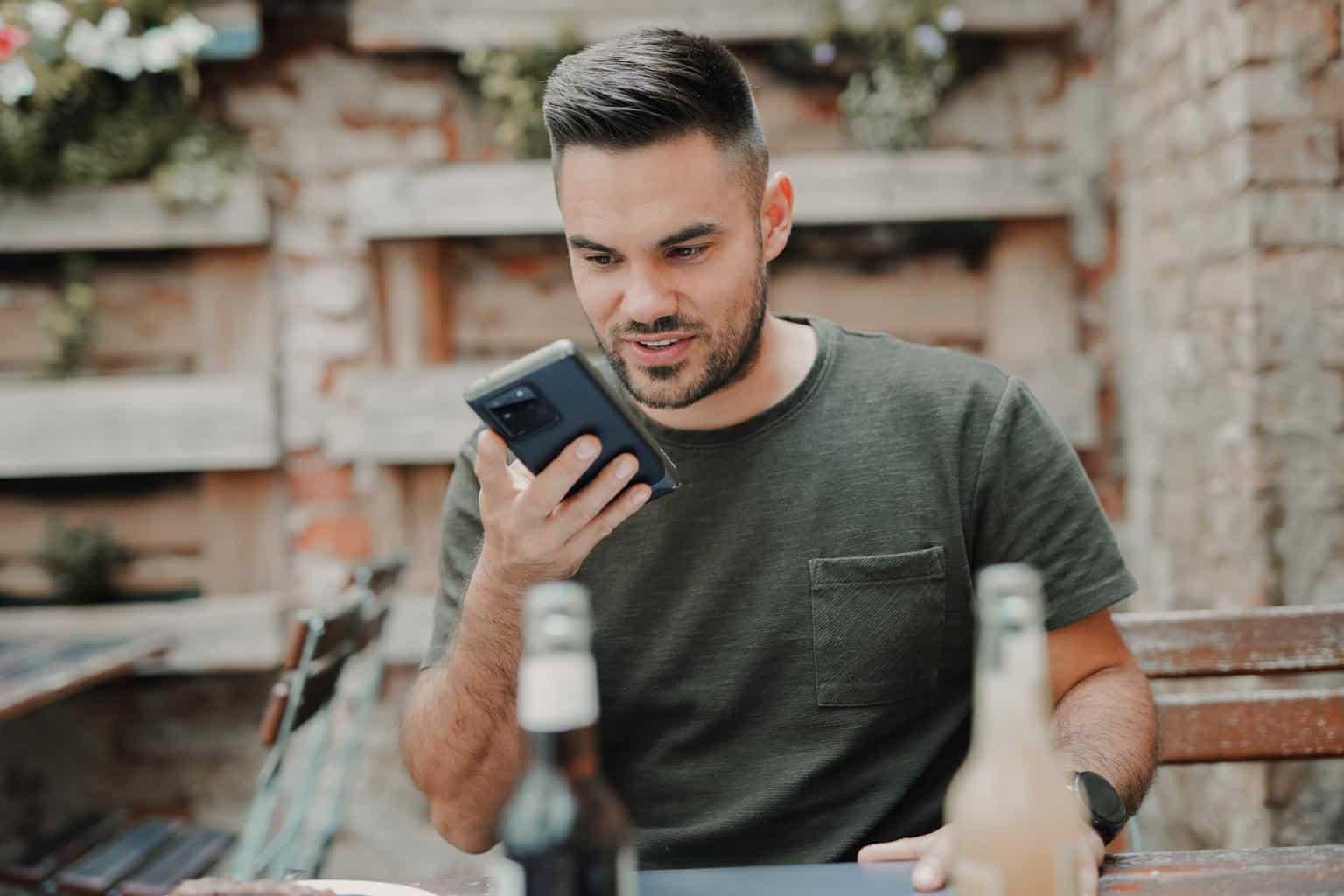 Men sending a voice message