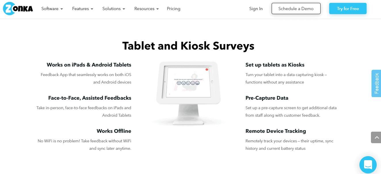 Zonka Feedback tablet and kiosk surveys option