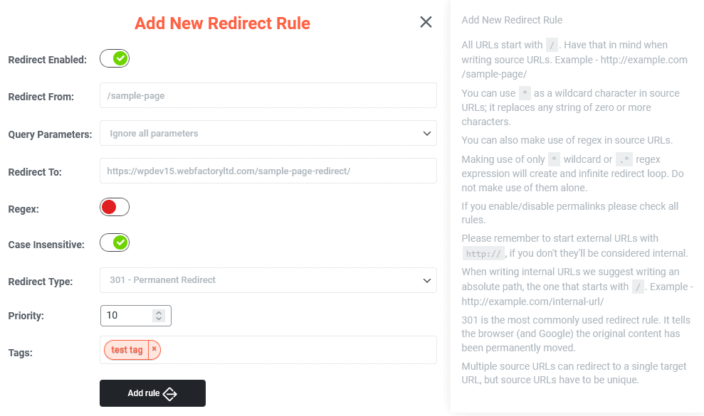 Add new redirect rule option